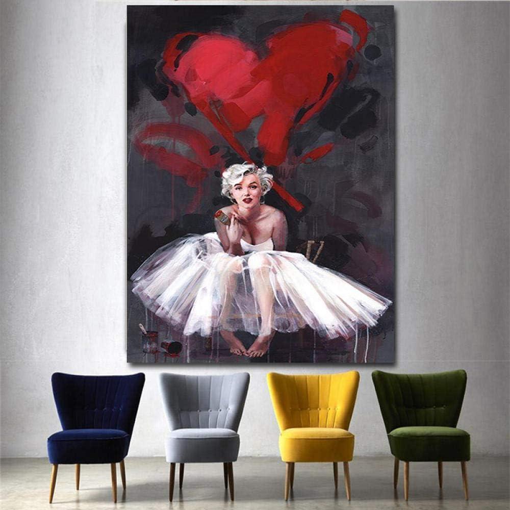 HANTAODG Cuadro En Lienzo Marilyn Monroe Imprime Lienzo Póster Cuadros De La Pared para Sala De Estar Decoración del Hogar Moderno Abstracto 50Cmx70Cm