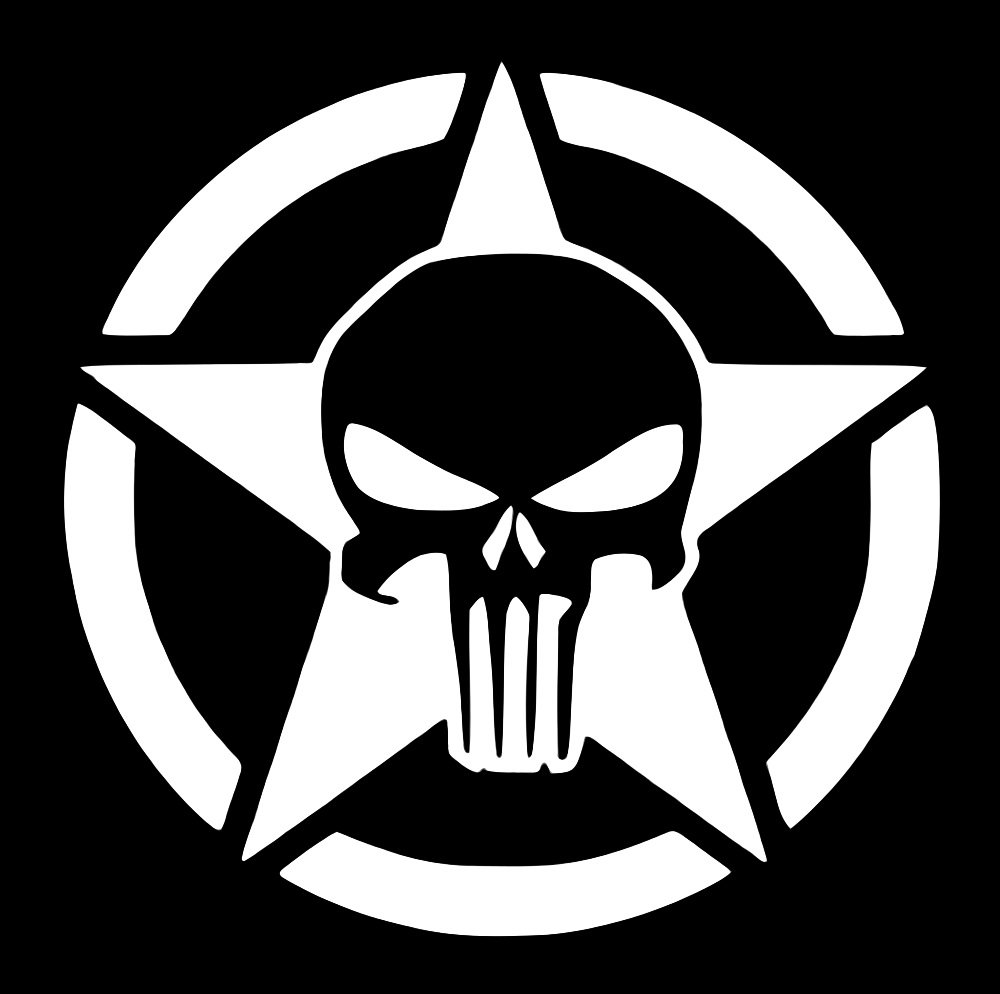 Amazon com ur impressions army star oscar mike punisher decal vinyl sticker graphics for cars 4x4 trucks suv vans walls windows laptopwhite5 5
