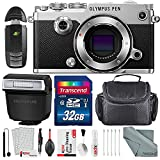 Olympus PEN-F Mirrorless Micro Four Thirds Digital Camera (Silver) with Deluxe Accessory Bundle and Cleaning Kit
