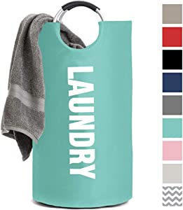 Gorilla Grip Premium Laundry Hamper Basket, Heavy Duty Clothes Bag, Durable Handles for Easy Carry, Collapsible Cloth Baskets, Hampers for College Dorms, Foldable Fabric Bags, 17 L x 31 H, Turquoise