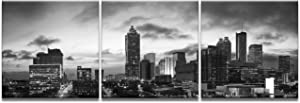 Atlanta Wall Art Black and White Poster Canvas Prints City Skyline Cityscape Pictures Paintings Home Decor Office Decorations Framed Ready to Hang(24''Wx72''H)