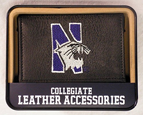 Wildcats Embroidered Tri Fold - NCAA Northwestern Wildcats Embroidered Genuine Cowhide Leather Trifold Wallet