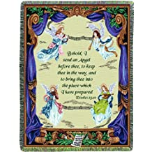 Manual Inspirational Collection Tapestry Throw with Verse, Angel Symphony by Lena Liu, 50 X 60-Inch