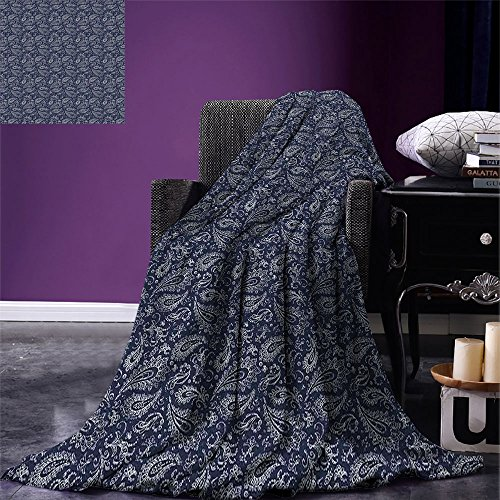 smallbeefly Paisley Weave Pattern Extra Long Blanket Vintage Ornament Bohemian Motifs with Grunge Look Hand Drawn Style Pattern Custom Design Cozy Flannel Blanket Dark Blue and White