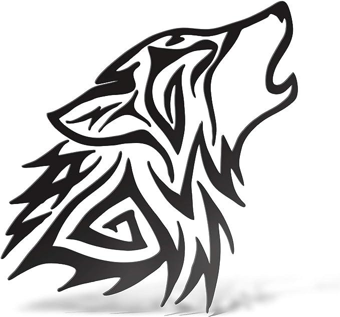 Erreinge Aufkleber Stammes Wolf Schwarz Dx Schriftzug In Pvc Wandwand Aufkleber Für Helm Auto Moto Camper Laptop 12 Cm Küche Haushalt
