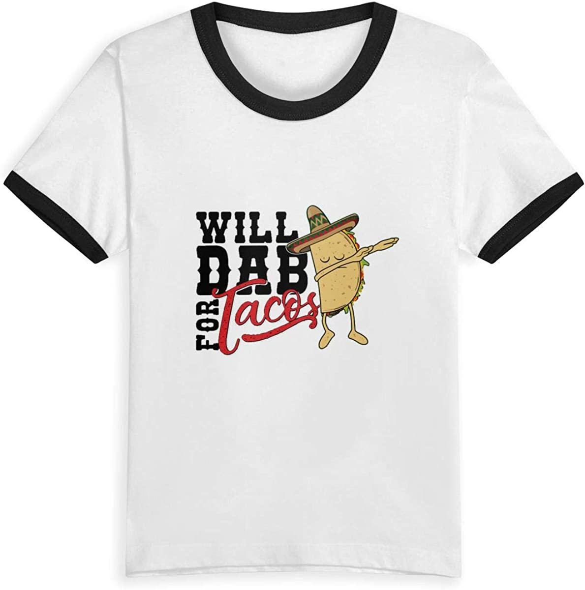AMMAaaa Will Dab for Tacos Kids T-Shirt Childrens Short Sleeve Shirts Printed Boys Girls
