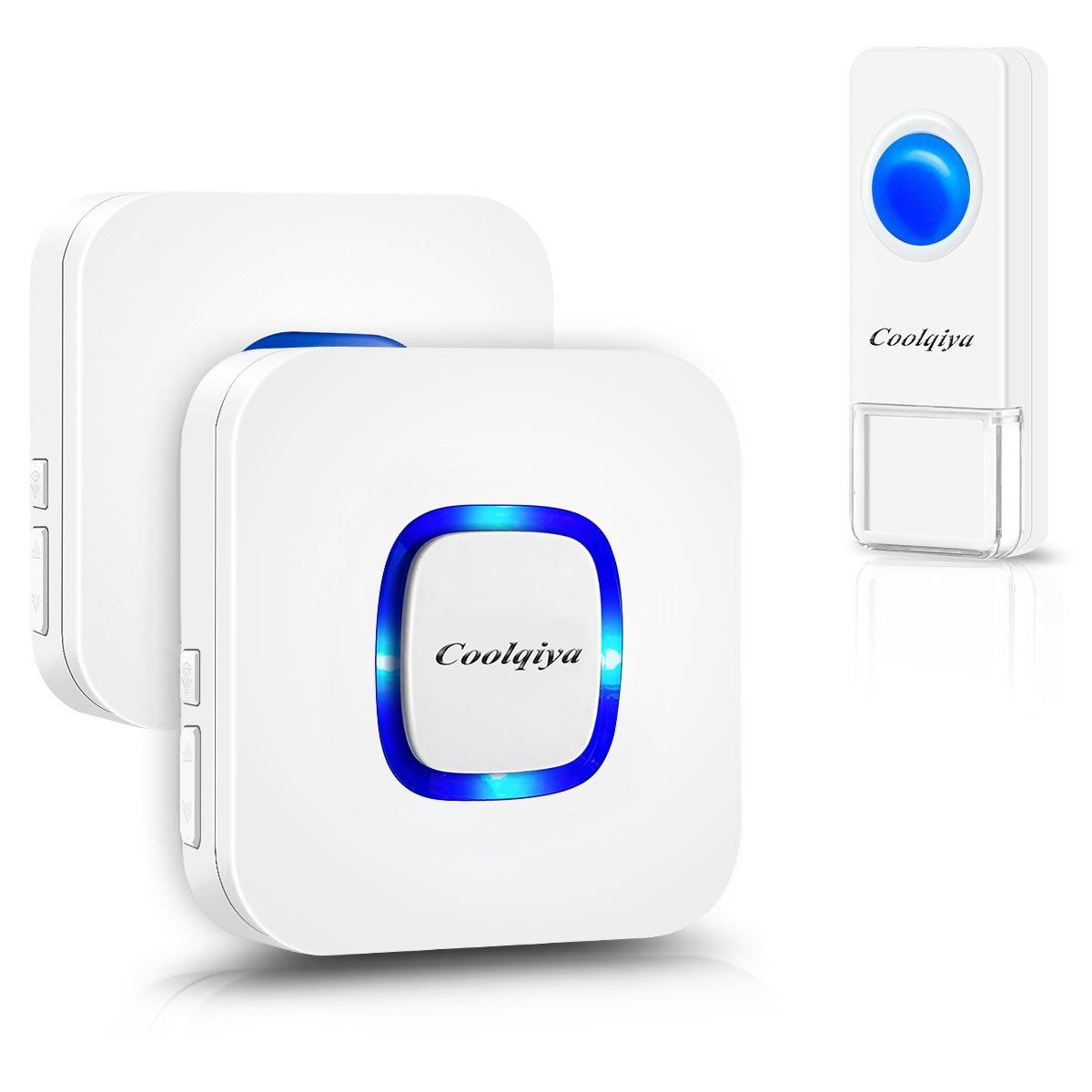 Coolqiya Doorbell, Wireless Doorbell Chimes Waterproof Remote Door Bell  Button Ring For Home, No