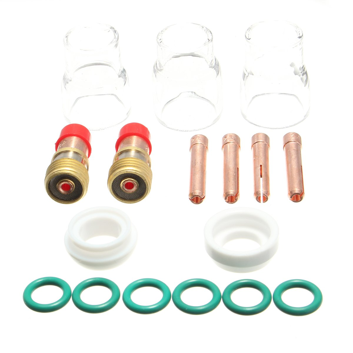MASUNN 17Pcs 1.6 mm TIG soldadura de gas rechoncho lente Coll cuerpo antorcha accesorios WP-17/18/26