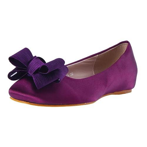 Damara Mujeres Zapatos Planos De Cabeza Cuadrada Bailarinas Zapatillas con Lazo.Violado.talla39: Amazon.es: Zapatos y complementos