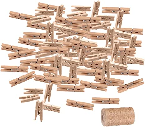 UK Seller 100 Pack of Mini Pegs 2.5cm  Natural Small Wooden Peg Clip Clamp Wood
