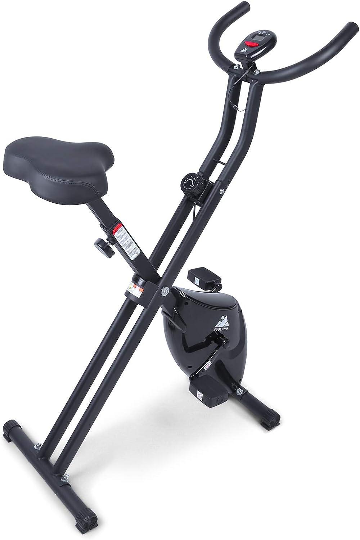 EVOLAND Bicicleta Estática Plegable, Bicicleta Estática de Fitness Multinivel de Resistencia Magnética con Monitor Rítmo Cardíaco para Ejercicio Entrenamiento en Casa, MAX hasta 120 kg