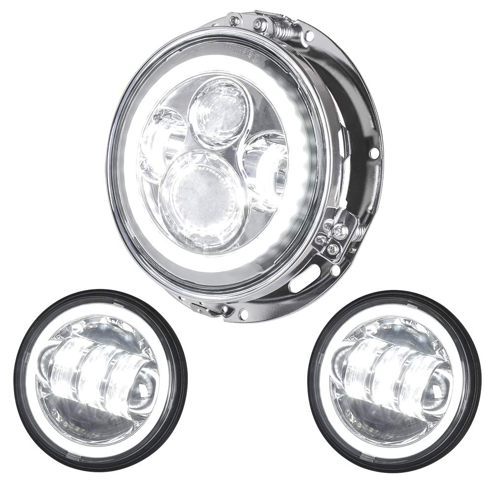 NTHREEAUTO 7' Halo Headlight + 4.5' Halo Fog Light Passing Lamp Angle Eyes DRL Headlamp with Chrome Decorate Trim Ring Compatiable with Harley Davidson Softail Touring Road Glide Jeep Wrangler JK