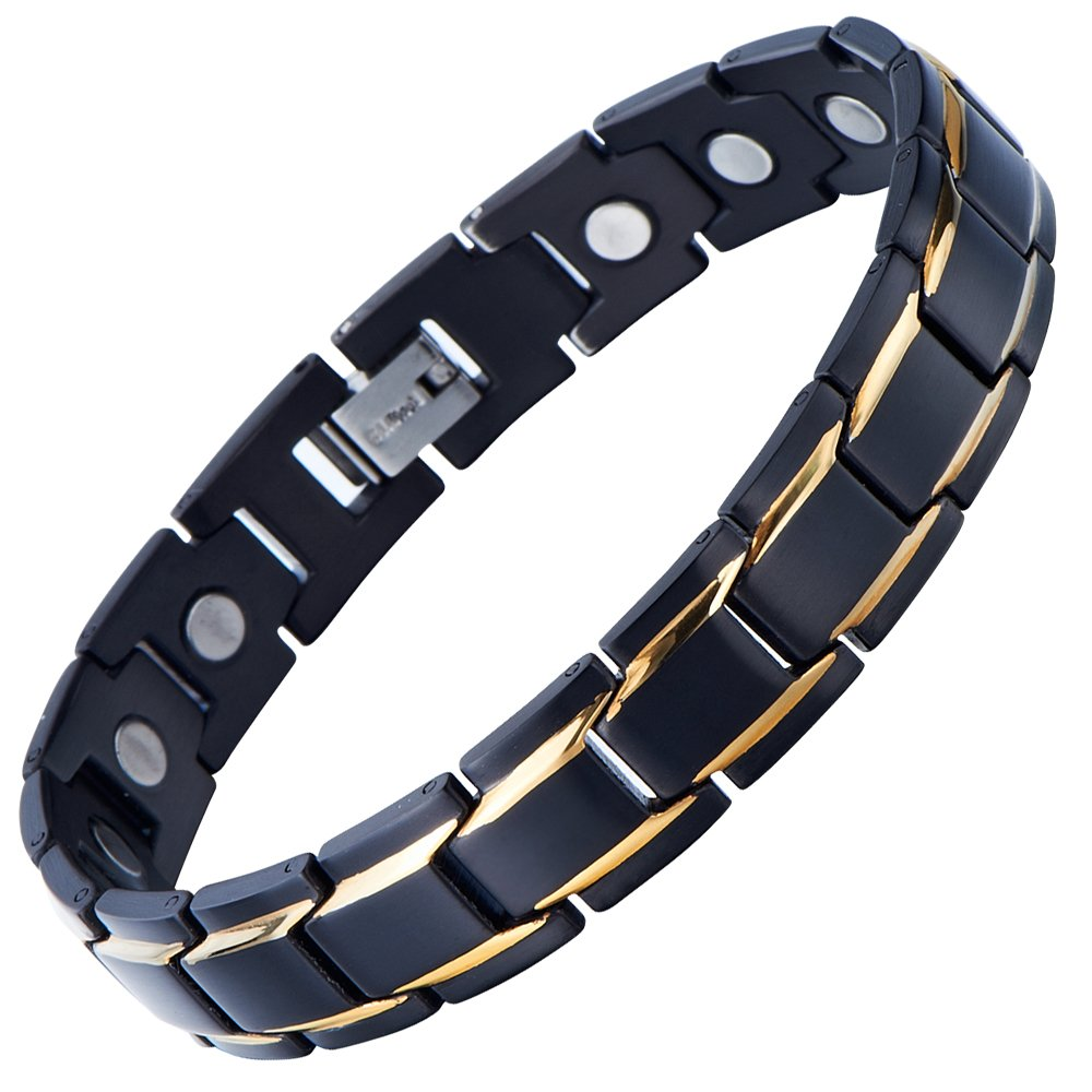 COOLSTEELANDBEYOND Magnetic Stainless Steel Mens Gold Black Power Element Bracelet with Strong Magnets and Free Link Removal Kit