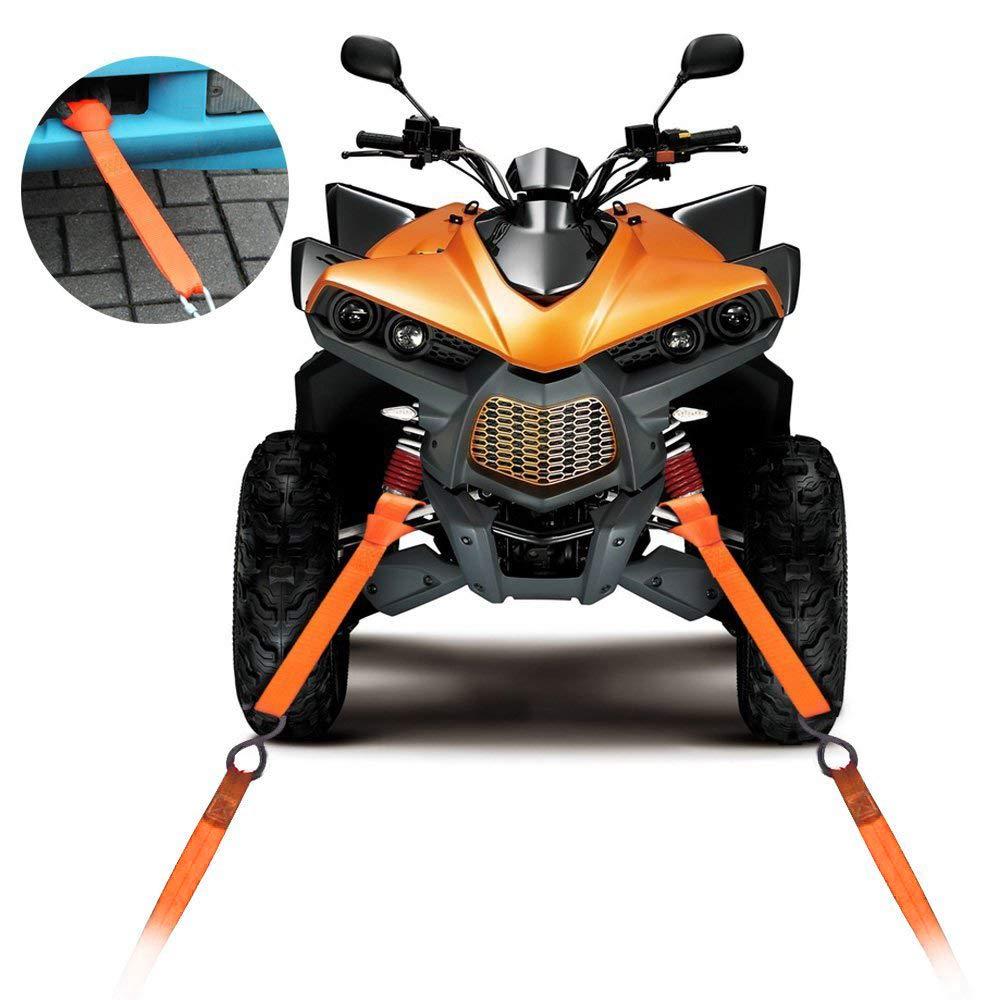 LITTOU 12 X 1 Correa de Trinquete Correas Remolque Cuerda Cintur/ón Suave 2300 Lbs Prevenir ara/ñazos Motos ATV Dirt Bike Harley Heavy Duty 16 Piezas (Rojo)