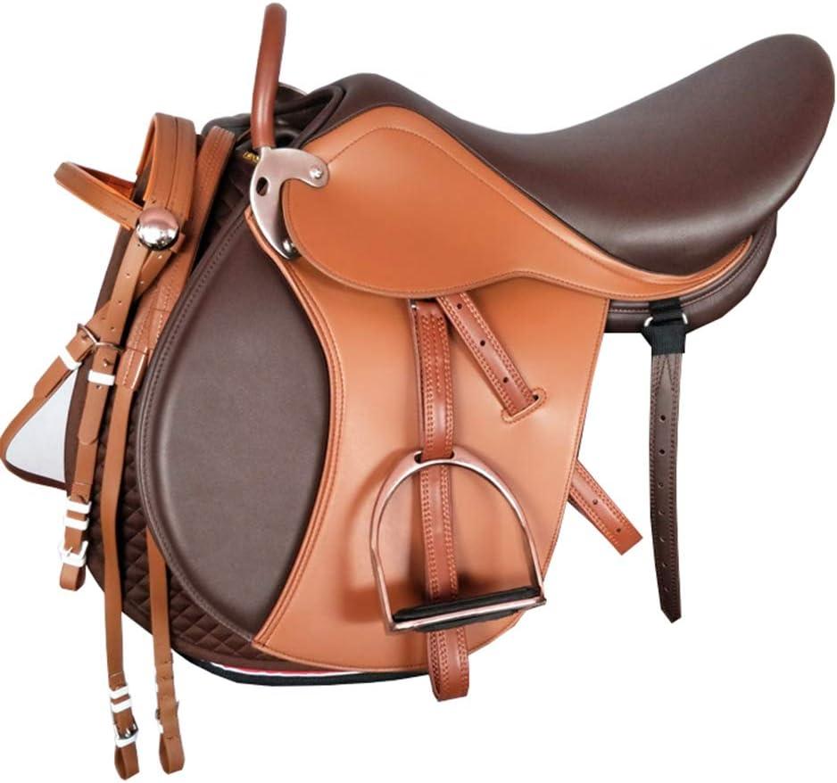 GUTYRE Conjunto de Silla de Montar Material de Cuero Occidental Caballo de Silla Tack Obtener Correa de Cuero,A