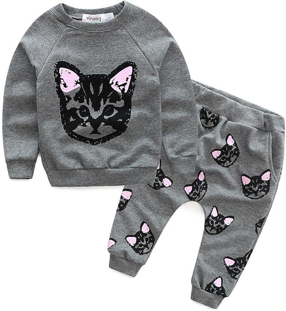Bebé Gatos Largo Manga de la impresión del chándal + Pantalones Trajes Set (3T-90CM, Gris): Amazon.es: Ropa y accesorios