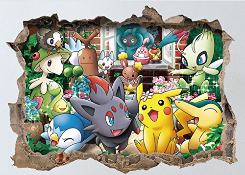 Reusable Peel (Pokemon Pikachu Reusable Peel and Stick Wall Decal For Children Room Wall Mural)