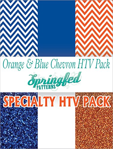 (ORANGE & BLUE HTV SPECIAL PACK #1 Chevron Pattern, Color and Glitterflex HTV for T-Shirts!)