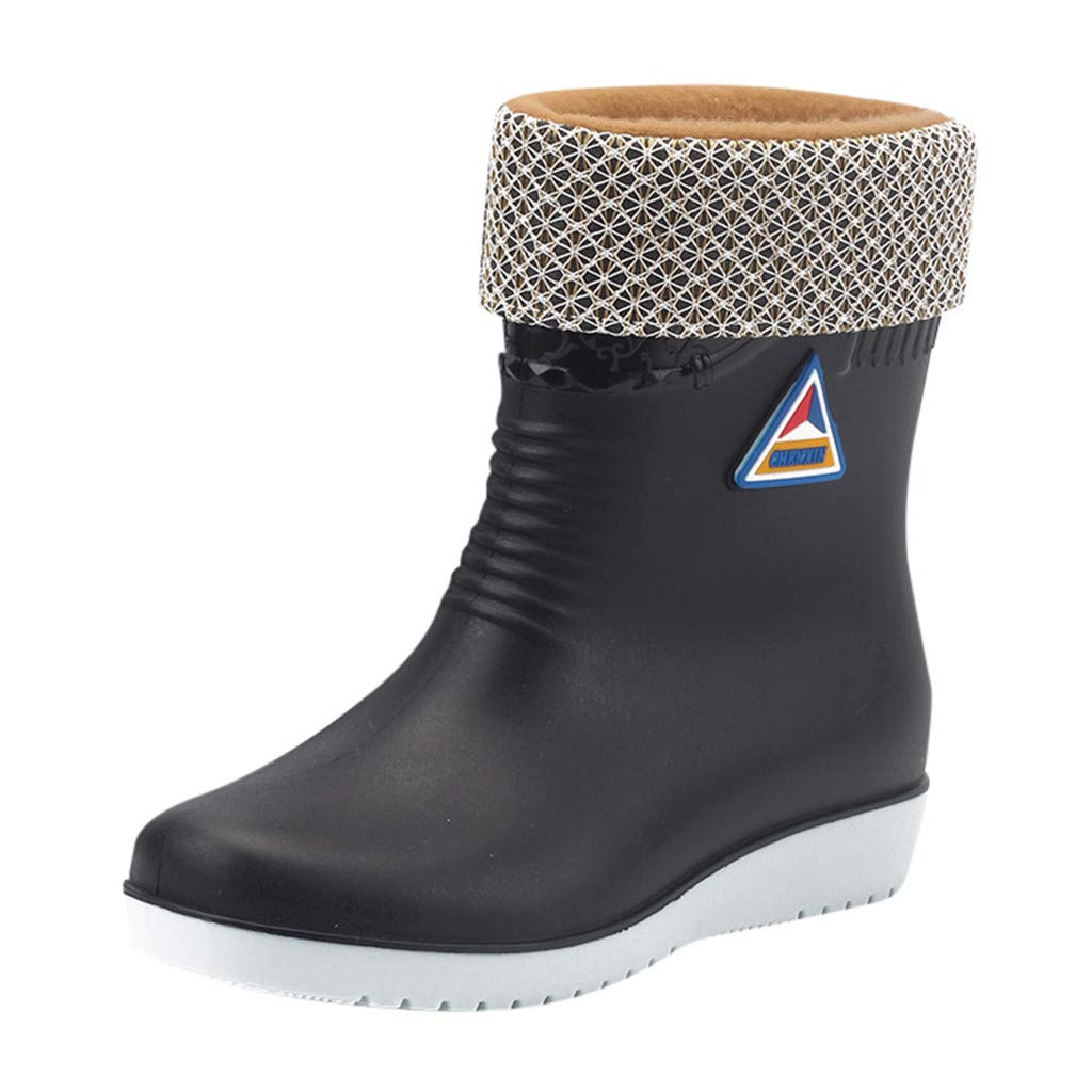 Womens Flats Non-Slip Round Toe Athletic Shoes Waterproof Galoshes Rain Boots