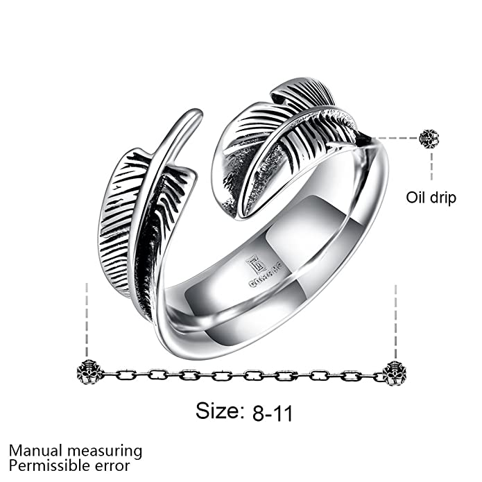 Titanium Feather Open Rings Unisex Adjustable Size Punk Party Fashion Jewelry VJ8K2g0Rup