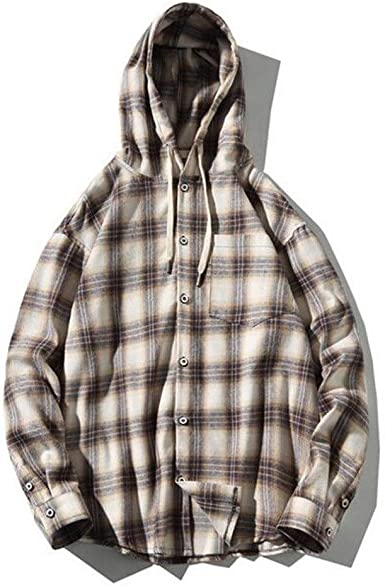 Camisa con capucha a cuadros de los hombres, los hombres del ...