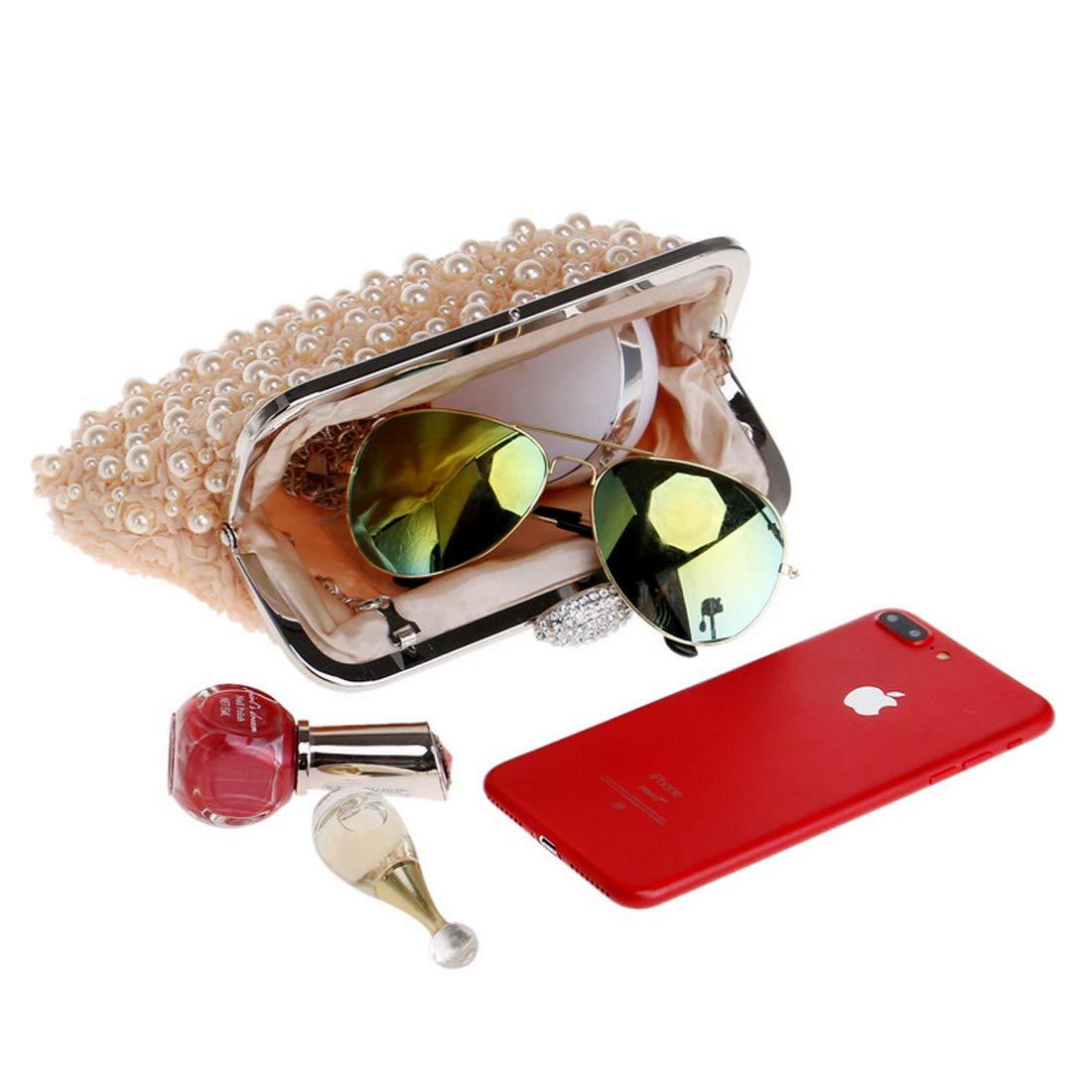Artwell Women Pearl Beaded Evening Clutch Luxury Rhinestone Wedding Party Handbag Purse for Lady