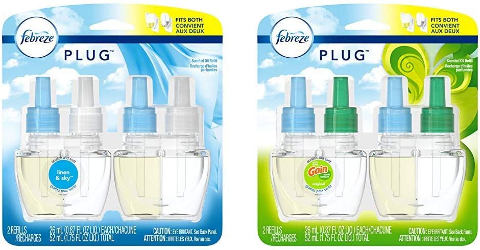 Febreze Plug in Air Freshener Scented Oil Refill, Linen & Sky, 2 Count (Packaging May Vary) and Febreze Plug in Air Freshener Scented Oil Refill, Gain Original Scent, 2 Count (Packaging May Vary)