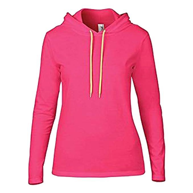Anvil - Sudadera con Capucha - para Mujer Hot Pink/Neon Yellow Small-38: Amazon.es: Ropa y accesorios