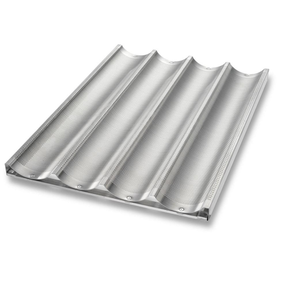 Chicago Metallic Uni-Lock Perf. Aluminum 4-Mold Baguette Pan