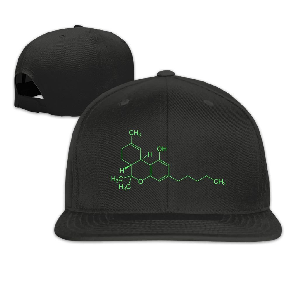 Jusxout THC Molecule Weed Cannabis Washed Unisex Flat Bill Visor Hip-Hop Hat