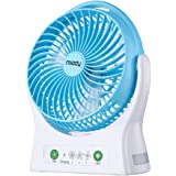 Miady 7.5-inch Rechargeable Personal Desk Fan USB Fan 4000mAh Battery Powered Fan 150 Degree Rotated Table Cooling Fan with Led Light for Office Home and Travel (3 Speed)