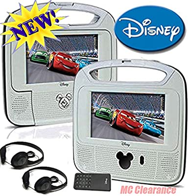 """Disney 7""""inch Dual Screen Widescreen LCD Mobile DVD Player DC7500PDD with Remote Control, Car Accessories and 2 Set Headphones. Plays DVDs, Audio CDs, and More by DISNEY"""
