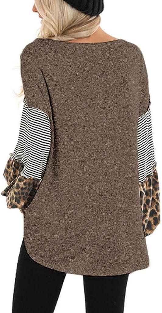 Cinnamou Femmes léopard Imprimer Manches Longues épissage rayé décontracté Tops Patchwork Pulls Chaud Pullover Sweater Top Blouse Café