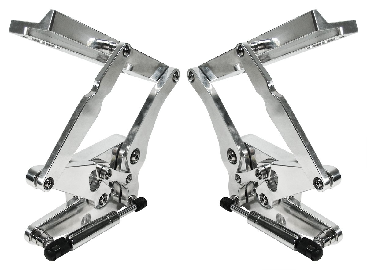 Southwest Speed NEW POLISHED BILLET ALUMINUM SOLID FRAME HOOD HINGES WITH GAS SPRINGS FOR 1969-1970 FORD MUSTANG WITH STEEL HOODS, PRECISION MACHINED