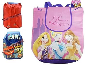 Takestop® - Mochila pequeña para niña con estampado de las princesas Disney: Rapunzel, Bella y Cenicienta - Tamaño: 36 cm - Ideal para ir a la playa, ...