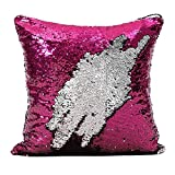 Fengheshun Reversible Sequins Mermaid Pillow Covers 4040 cm Magical Color Changing Pillowcase (Rose+silver),Valentine's Day present