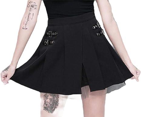 ShuangRun falda de malla gótica corta asimétrica con hebilla de ...