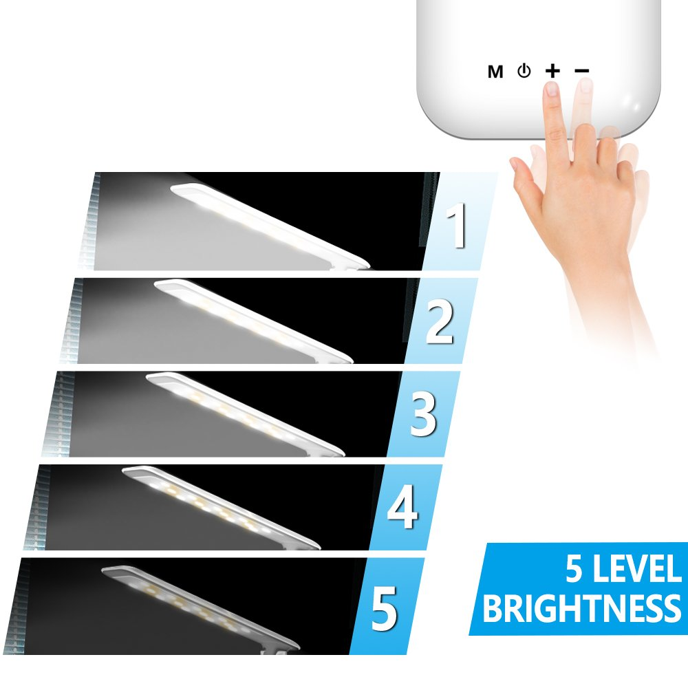 LED Desk Lamp, Lovin Product Dimmable Energy Efficient Table Lamps, Touch - Control/ 5-Level Dimmer/ 3 Color Modes; Foldable Eye-Caring Book Light for Reading (White) by LOVIN PRODUCT (Image #3)