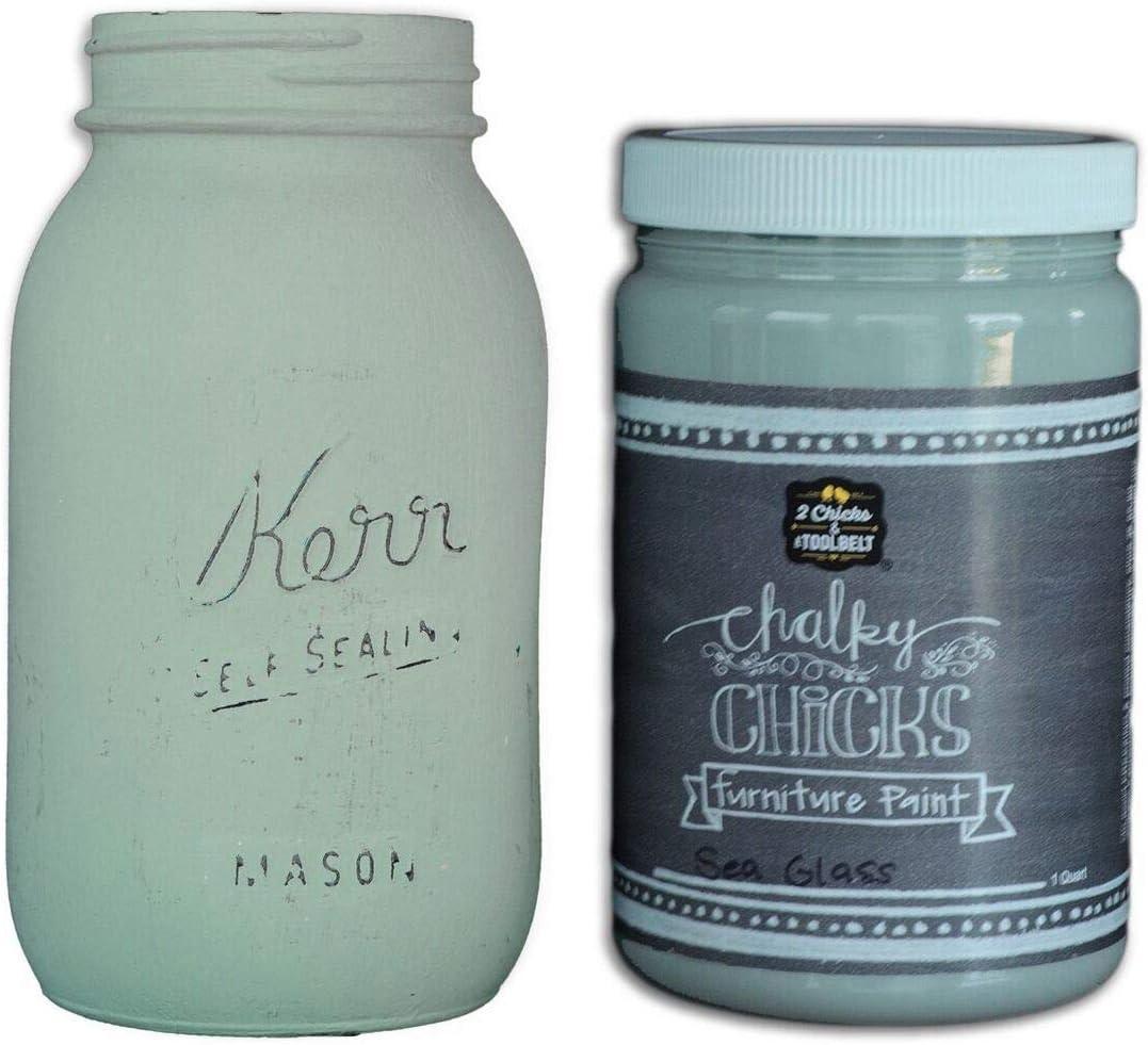 Chalk Finish Paint - Furniture & Cabinet Paint (32 oz, Sea Glass)