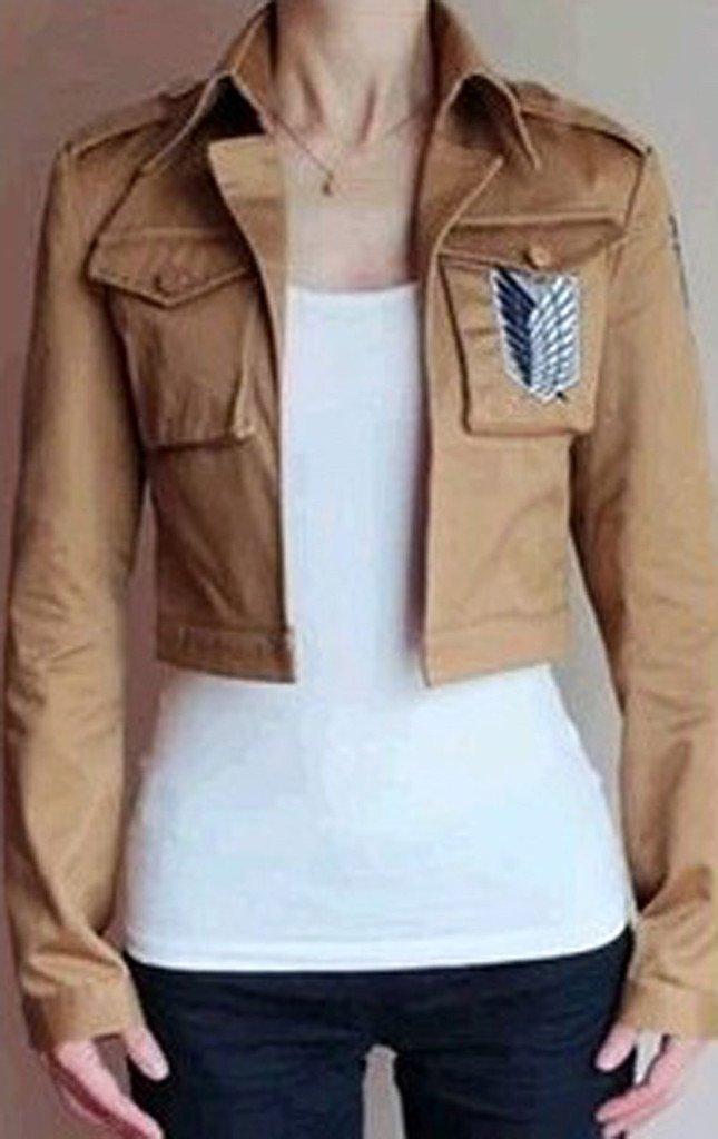 Buy-Box Women's Cos-me Attack on Titan Survey Corps Khaki Jacket Coat by Buy-Box (Image #3)