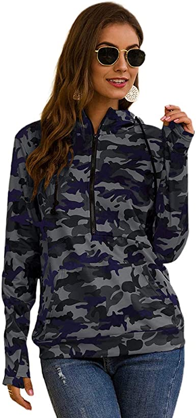 Big Tang Womens Long Sleeve Hooded Cropped Camo Pullover Patchwork Sweatshirt