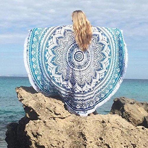 hunputa Indian MandalaラウンドRoundie Beach ThrowタペストリーHippy Boho Gypsy綿テーブルクロスビーチタオルラウンドヨガマット B01GZUEQUS  Sky Blue 05