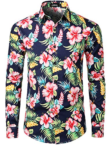 JOGAL Men's Flower Paisley Cotton Long Sleeve Casual Button Down Shirt Large A335L BlueHibiscus