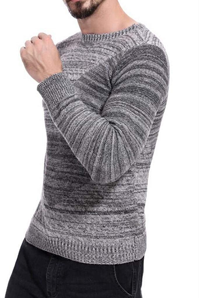 MOUTEN Mens Casual Slim Fit Round Neck Knit Long Sleeve Pullover Sweater