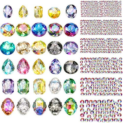 Bememo 3D Crystal AB Color Flat Back Rhinestones Nail Art DIY Crafts Gemstones with Nail Art Metal Gem Stones