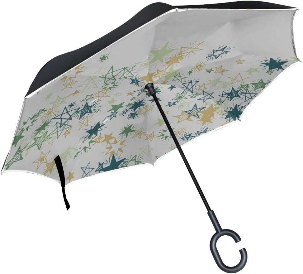 Double Layer Inverted Inverted Umbrella Is Light And Sturdy Under Sea View Reverse Umbrella And Windproof Umbrella Edge Night Reflection