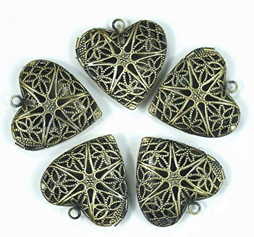 ALL in ONE Antique Bronze Vintage Brass Photo Locket Pendant (Heart)