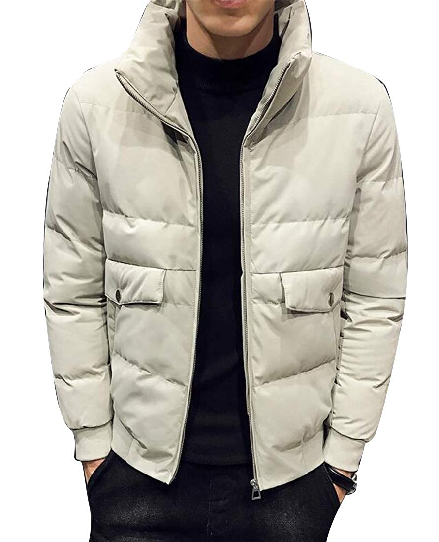 YYG Men Stand Collar Winter Zip Up Thickened Warm Down Quilted Coat Jacket