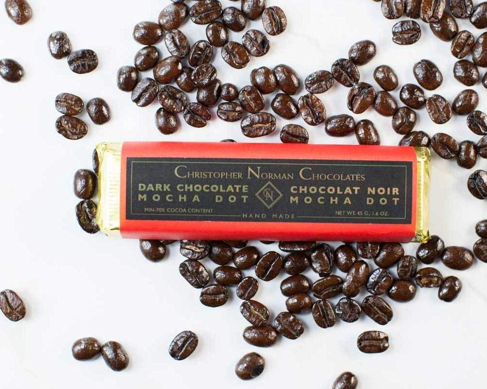 Christopher Norman Chocolates Mocha Dot Dark Chocolate Bar [45g]