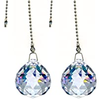 Amazon best sellers best ceiling fan pull chain ornaments beauty crystal clear crystal ball prism 4 pieces dazzling crystal ceiling fan pull chains aloadofball Choice Image